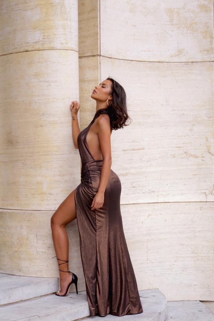 Vestido Longo Saraiva Cobre