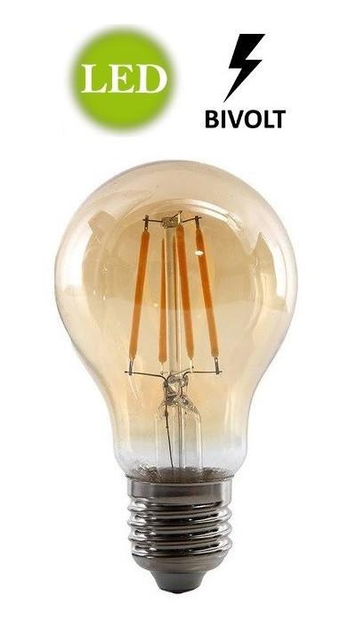10x Lâmpadas Led A19 Retrô Decorativa Vintage 4w Bivolt