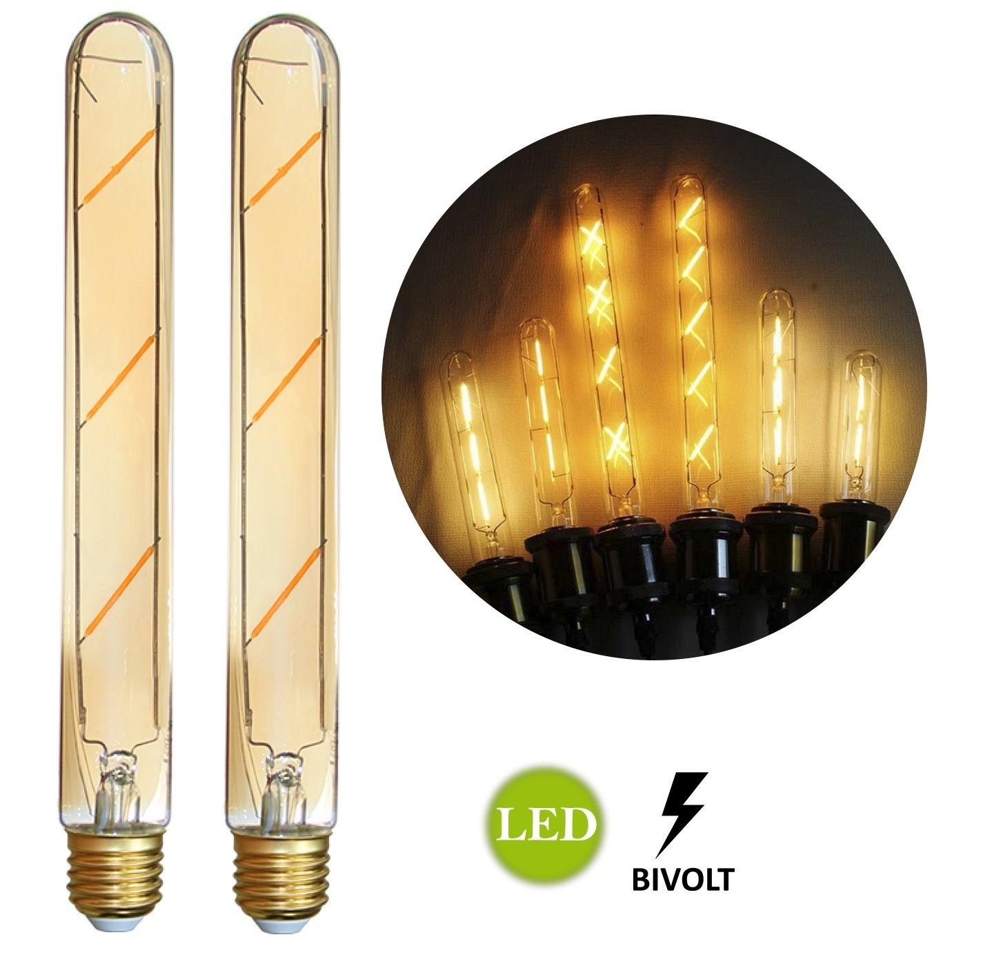 2 Lâmpadas de Filamento LED T185 4W Bivolt