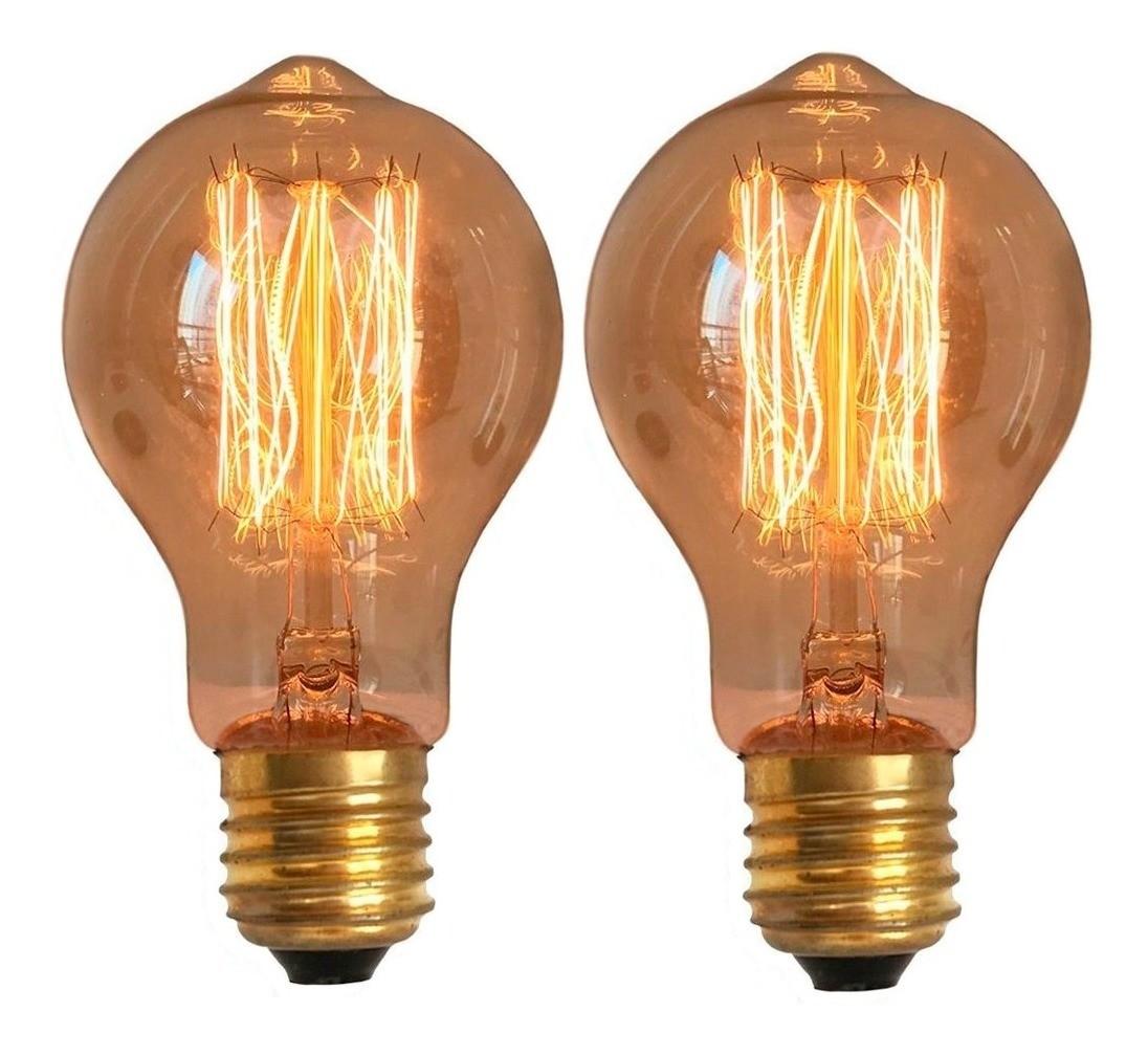 2 Lâmpadas Retrô Decorativa Vintage Thomas Edison A19