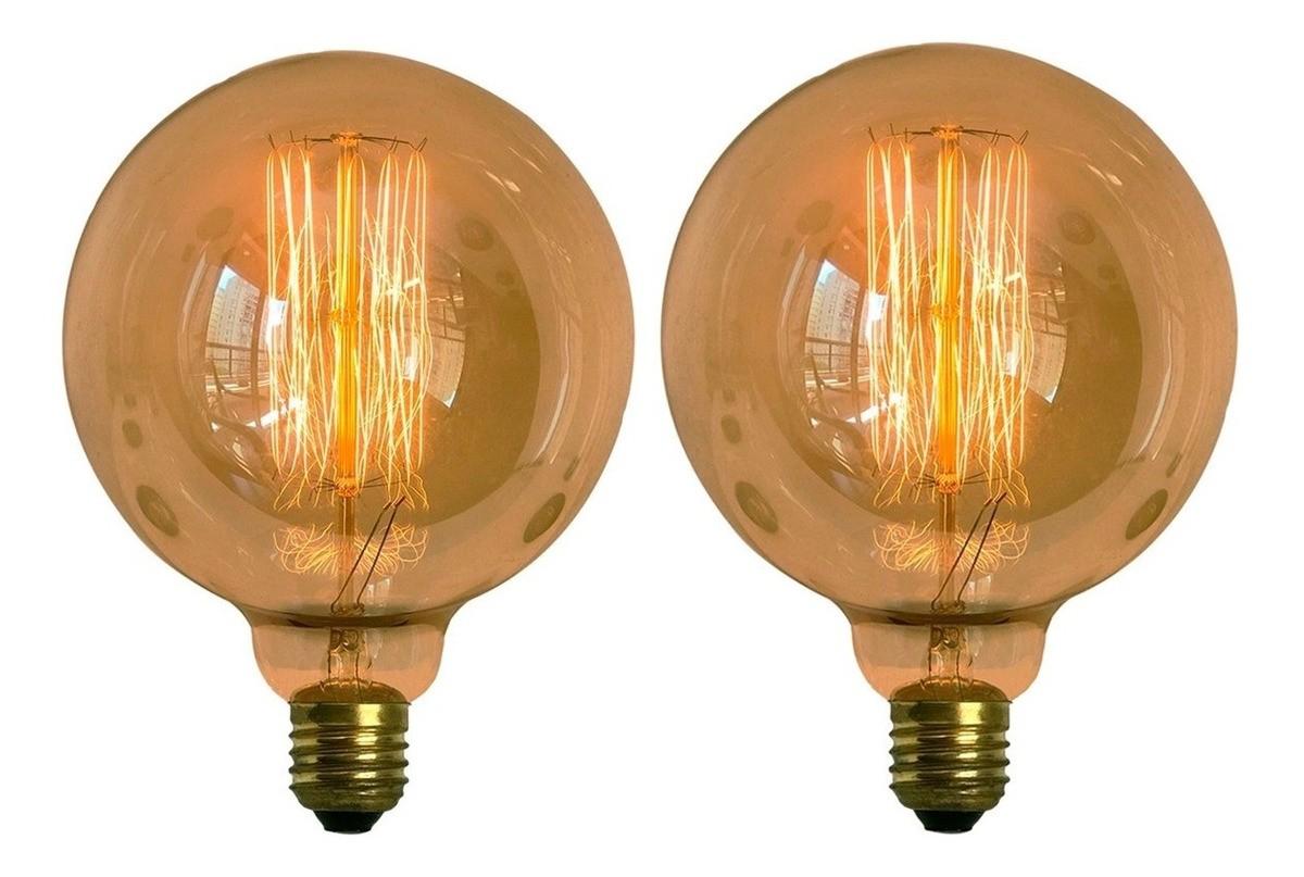 2 Lâmpadas Retro Decorativa Vintage Thomas Edison G125