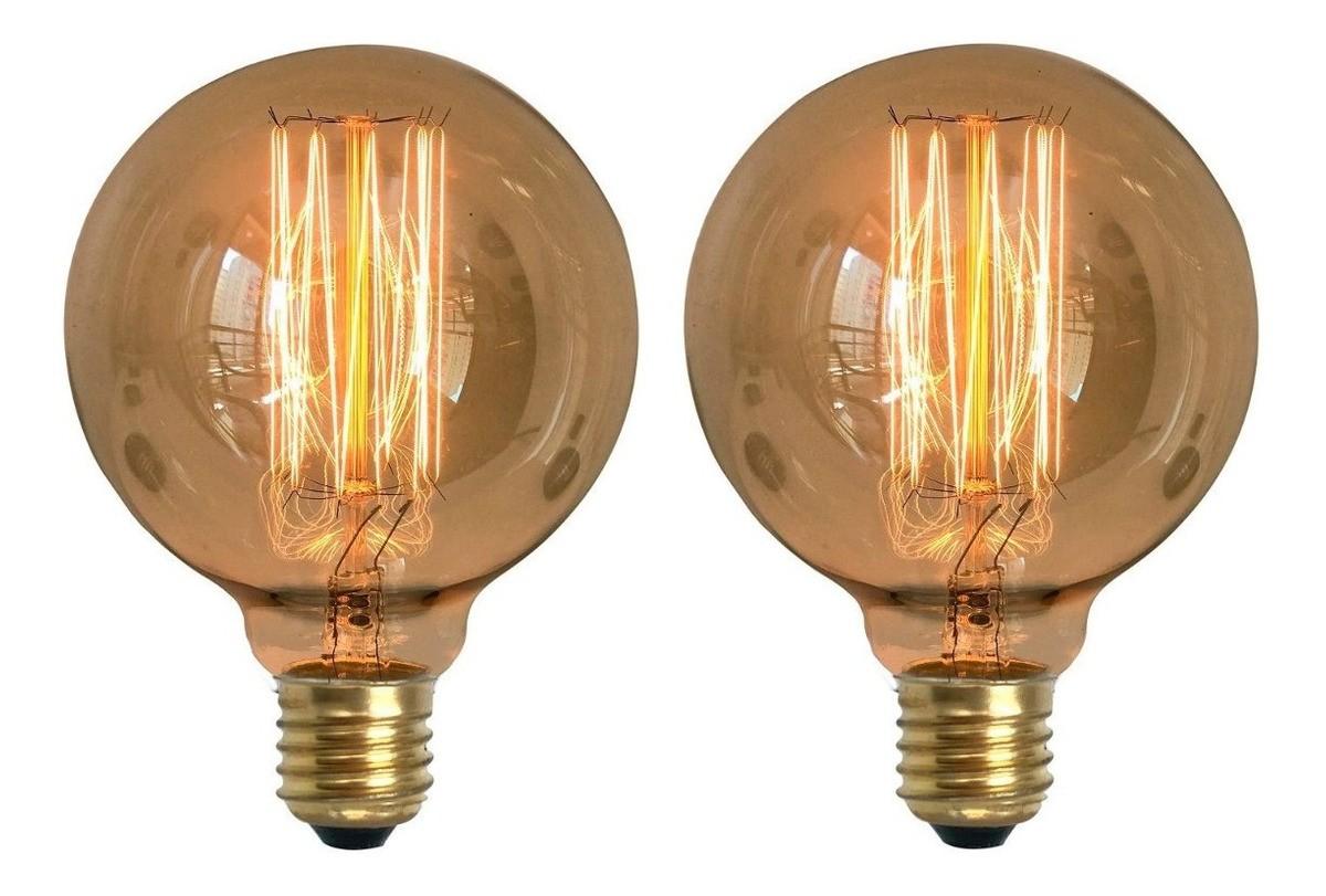 2 Lâmpadas Retrô Decorativa Vintage Thomas Edison G95