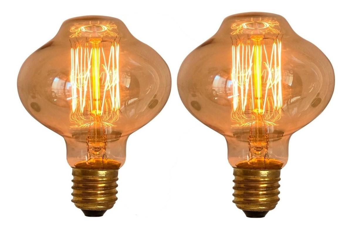 2 Lâmpadas Retrô Decorativa Vintage Thomas Edison L80