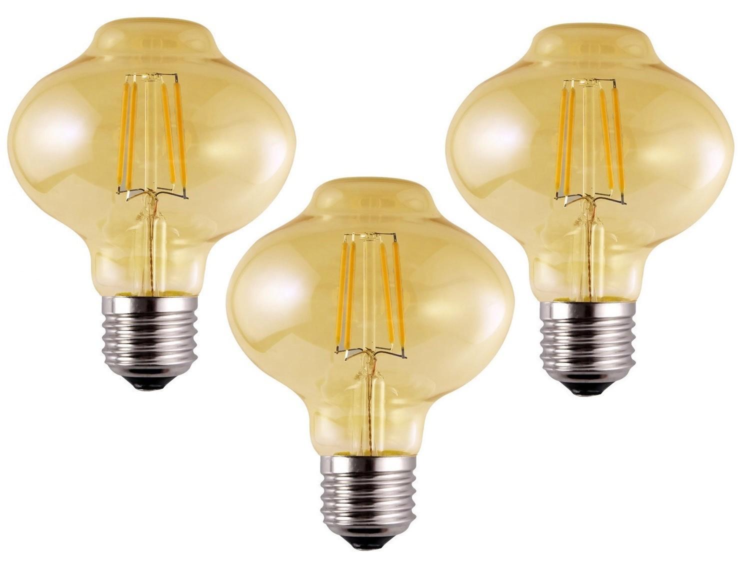 3 Lâmpadas de Filamento LED L80 4W Bivolt