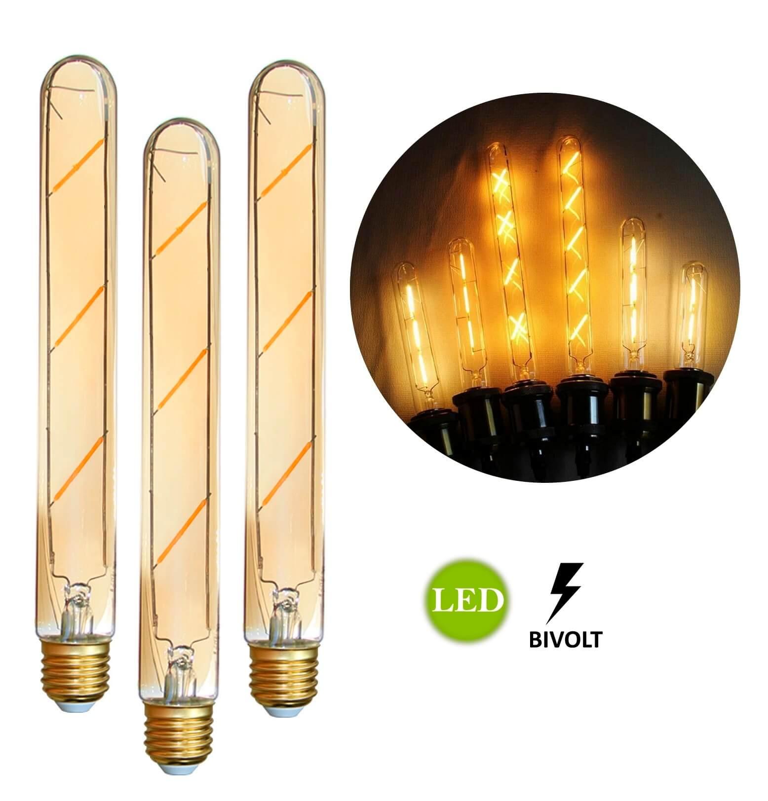 3 Lâmpadas de Filamento LED T185 4W Bivolt
