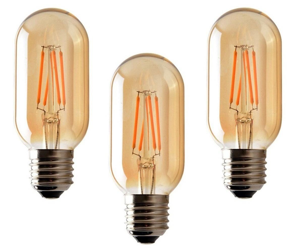 3 Lâmpadas de Filamento LED T45 4W Bivolt