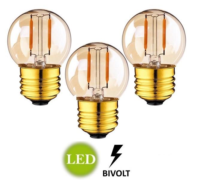 3 Lâmpadas G45 Retrô Decorativa Vintage LED 2W Bivolt