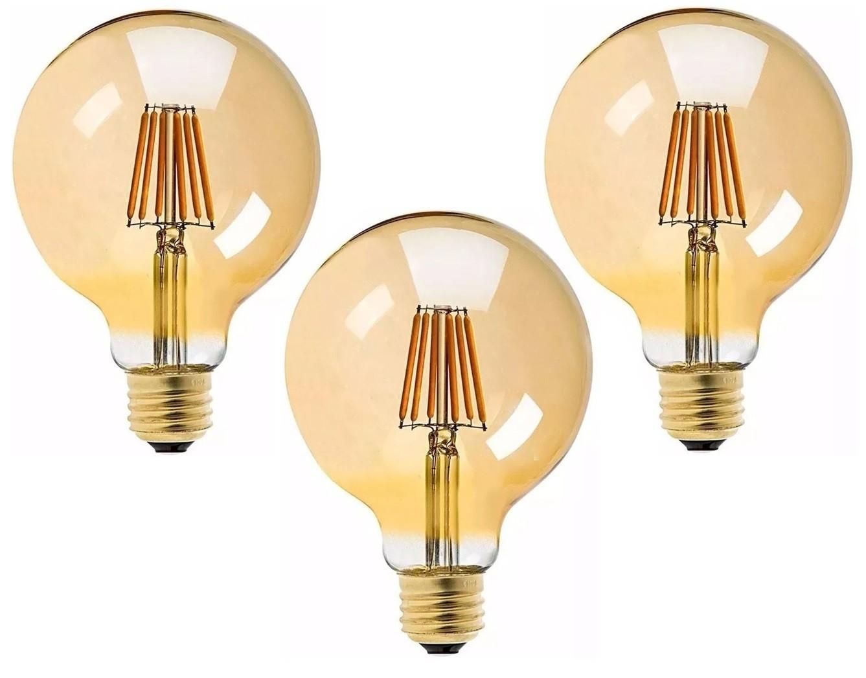 3 Lâmpadas G95 Retrô Decorativa Vintage Led 4w Bivolt