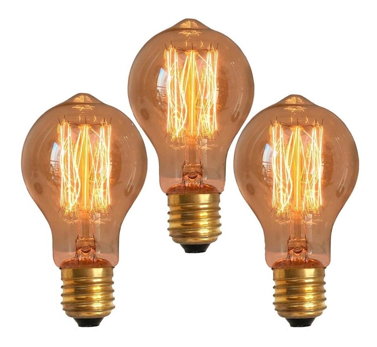 3 Lâmpadas Retrô Decorativa Vintage Thomas Edison A19