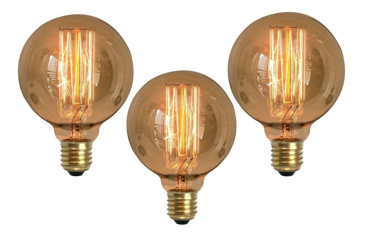 3 Lâmpadas Retrô Decorativa Vintage Thomas Edison G95
