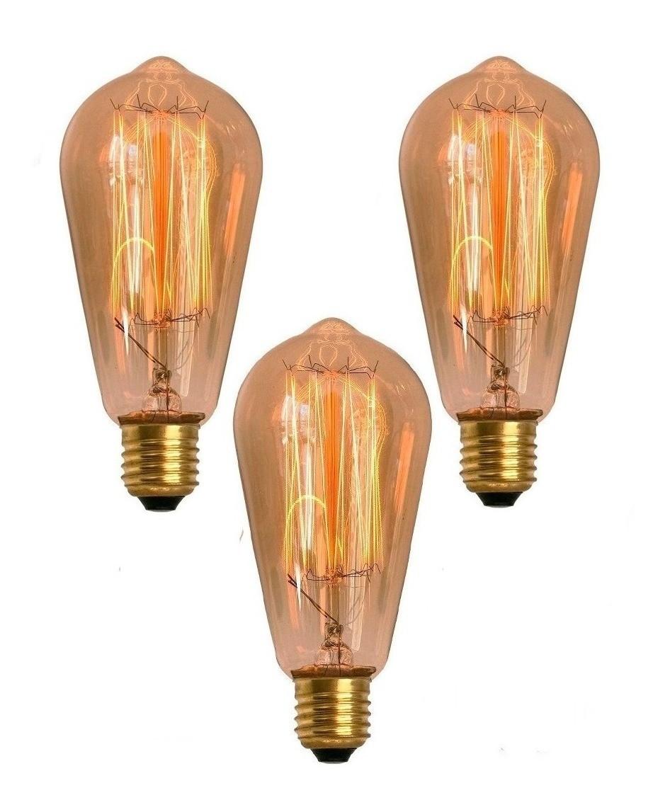 3 Lâmpadas Retrô Decorativa Vintage Thomas Edison St64