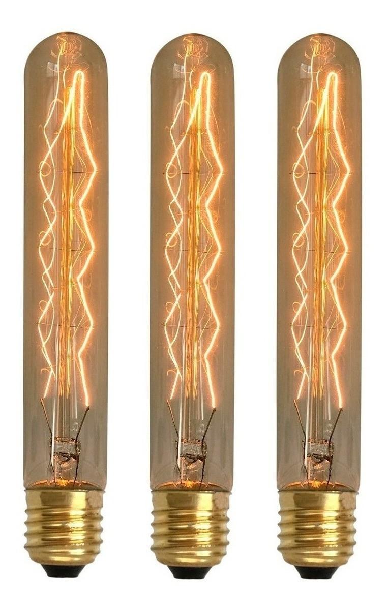 3 Lâmpadas Retrô Decorativa Vintage Thomas Edison T185
