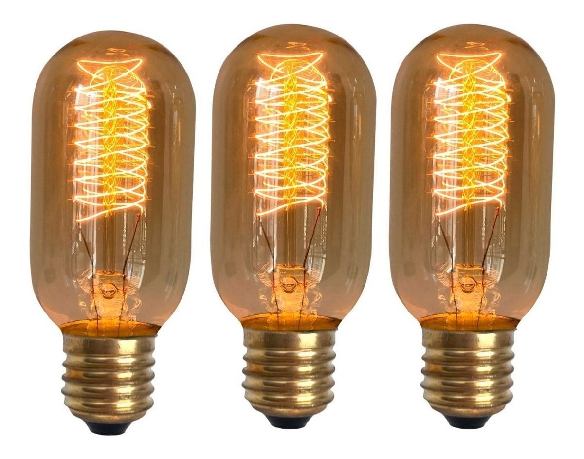 3 Lâmpadas Retro Vintage Thomas Edison T45