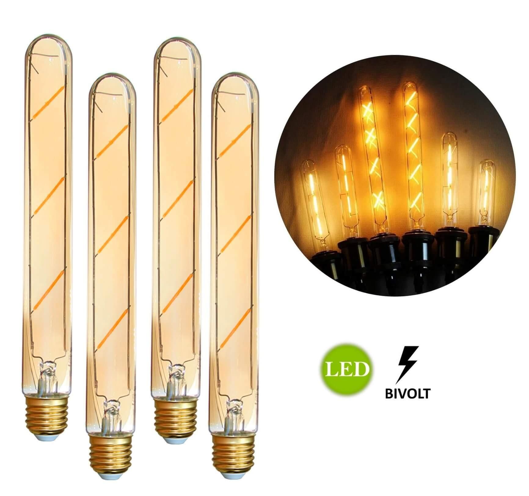 4 Lâmpadas de Filamento LED T185 4W Bivolt