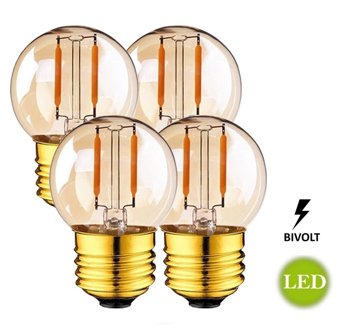 4 Lâmpadas G45 Retrô Decorativa Vintage LED 2W Bivolt