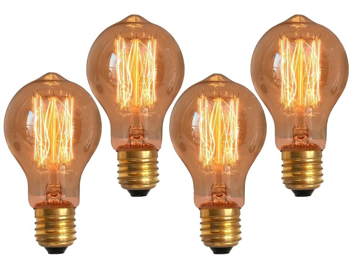 4 Lâmpadas Retrô Decorativa Vintage Thomas Edison A19