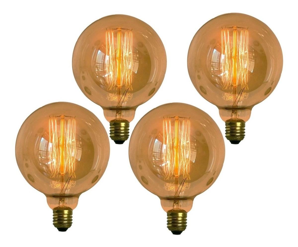 4 Lâmpadas Retro Decorativa Vintage Thomas Edison G125