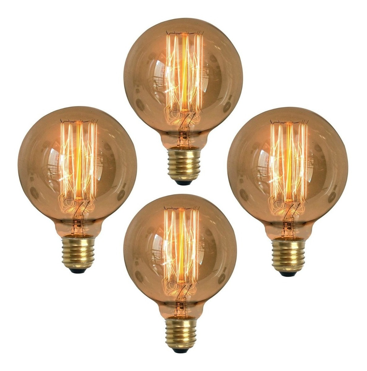 4 Lâmpadas Retrô Decorativa Vintage Thomas Edison G95