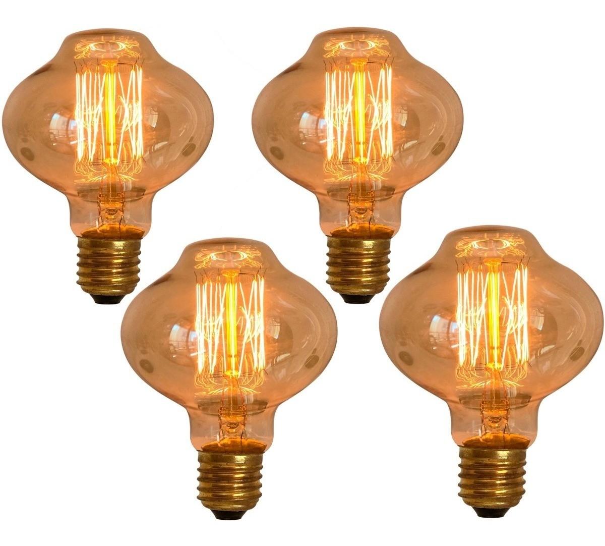 4 Lâmpadas Retrô Decorativa Vintage Thomas Edison L80