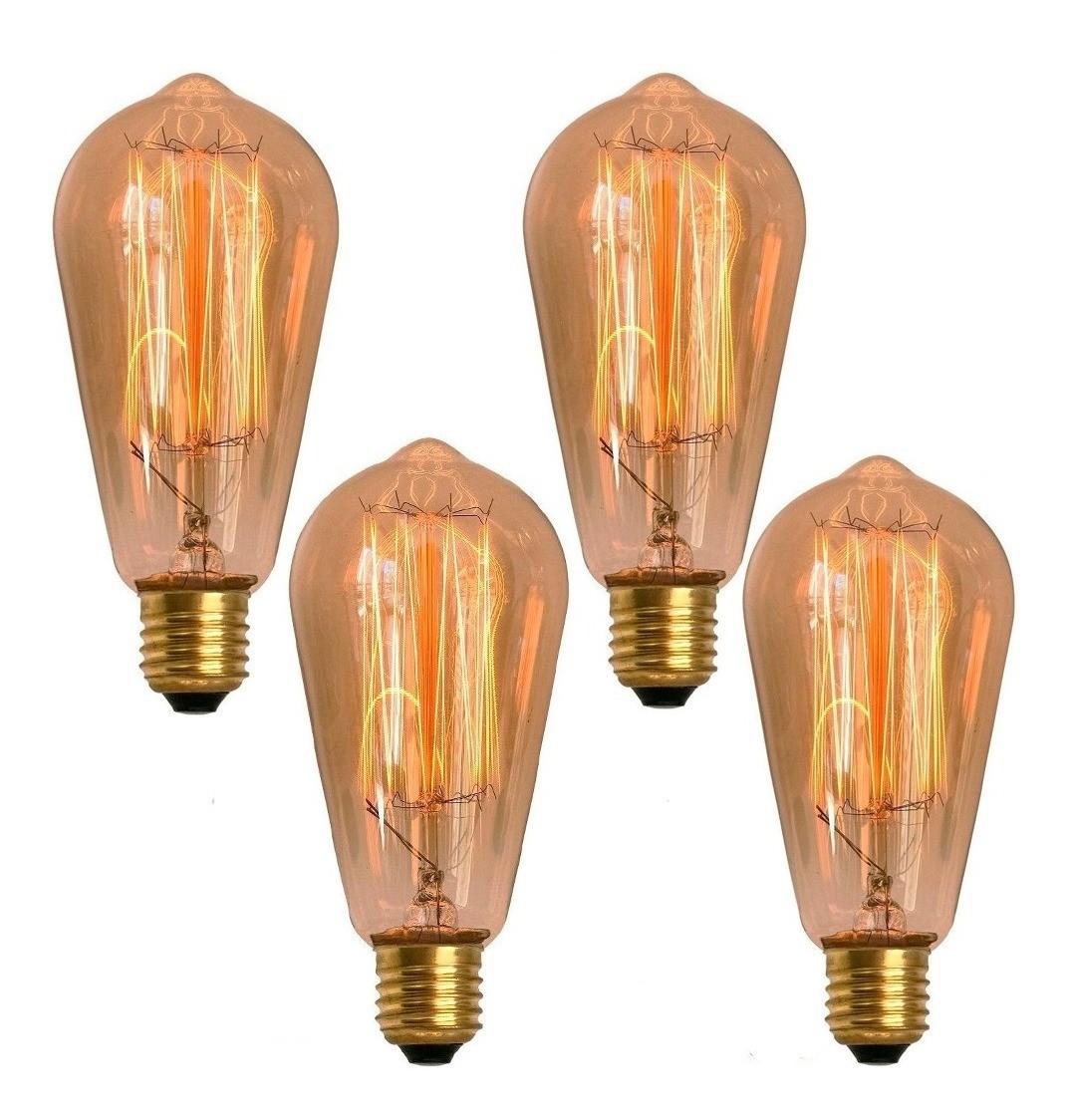 4 Lâmpadas Retrô Decorativa Vintage Thomas Edison St58