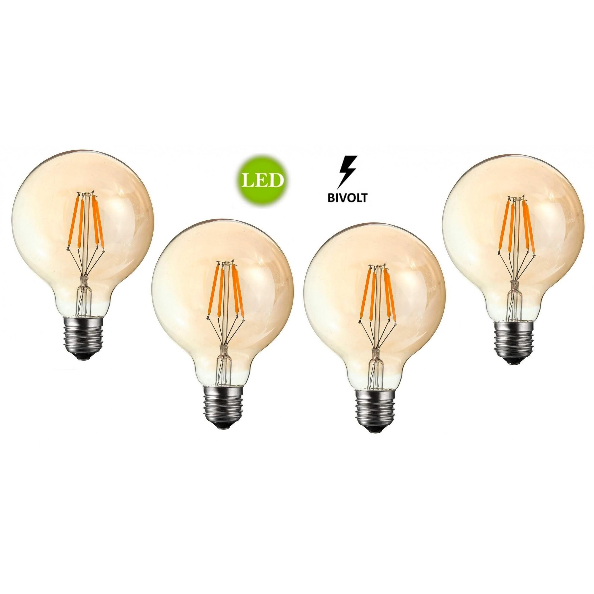 4 Lâmpadas Retrô LED G80 4W Bivolt
