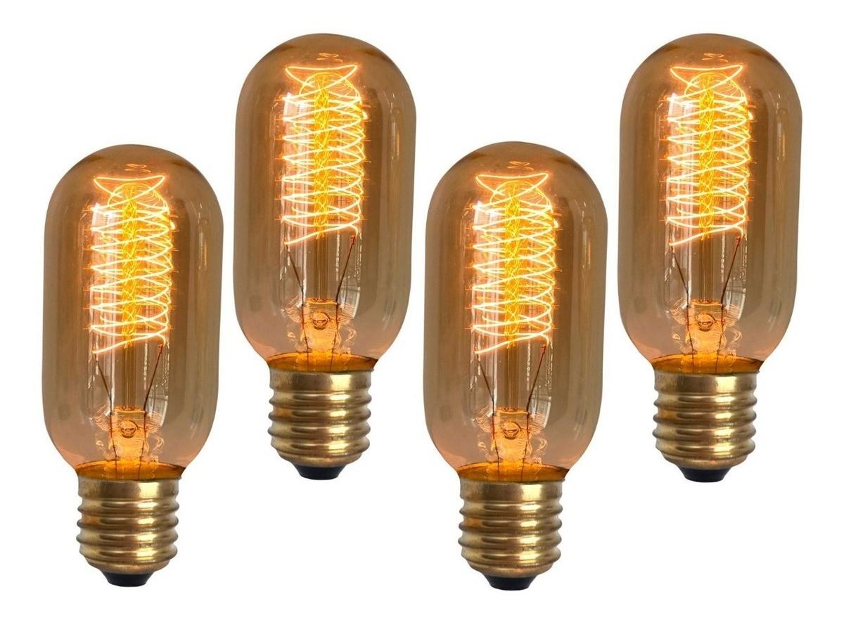 4 Lâmpadas Retro Vintage Thomas Edison T45