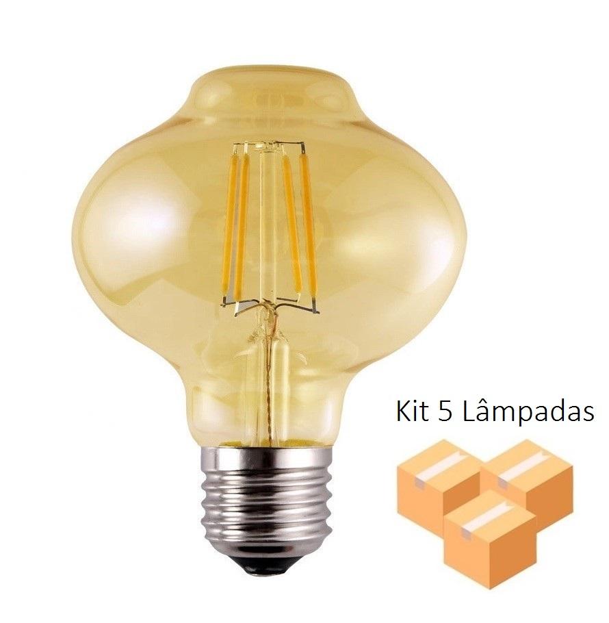 5 Lâmpadas de Filamento LED L80 4W Bivolt