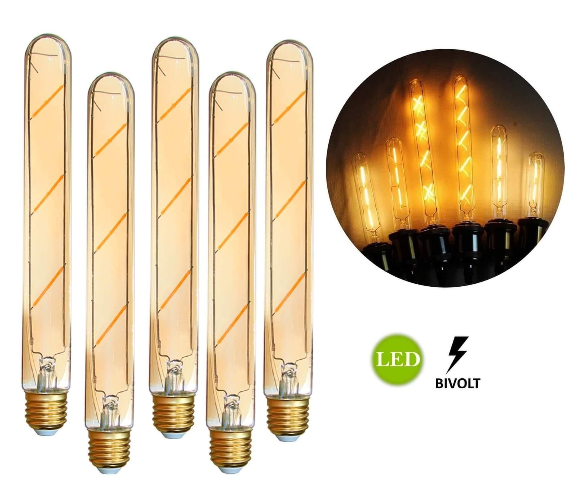 5 Lâmpadas de Filamento LED T185 4W Bivolt