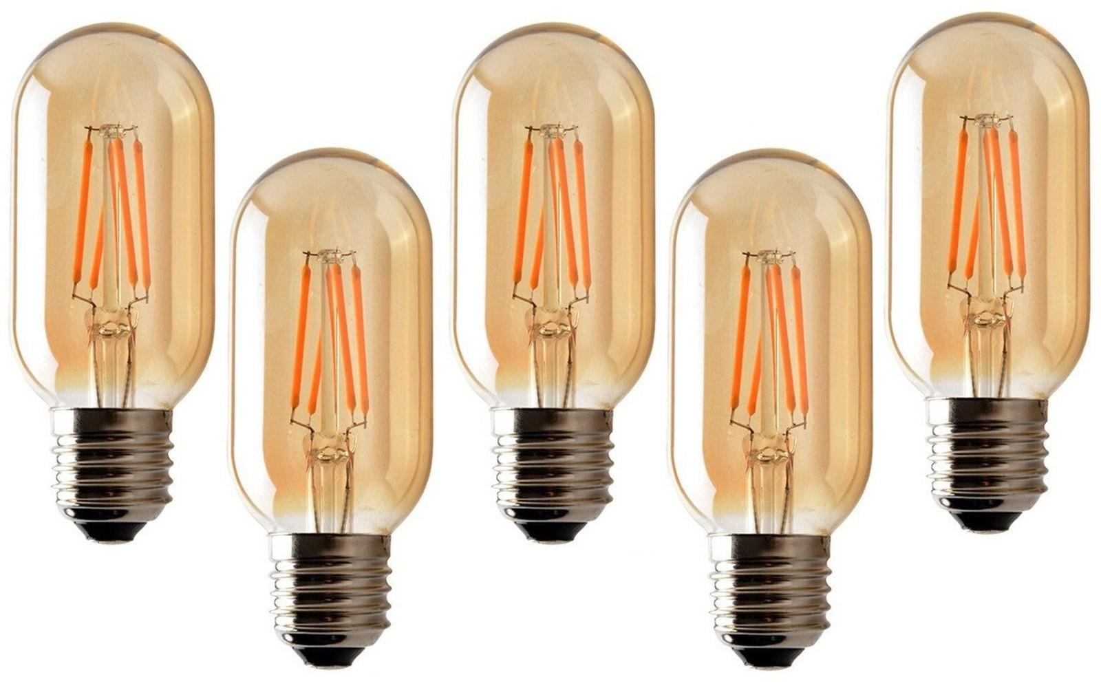 5 Lâmpadas de Filamento LED T45 4W Bivolt