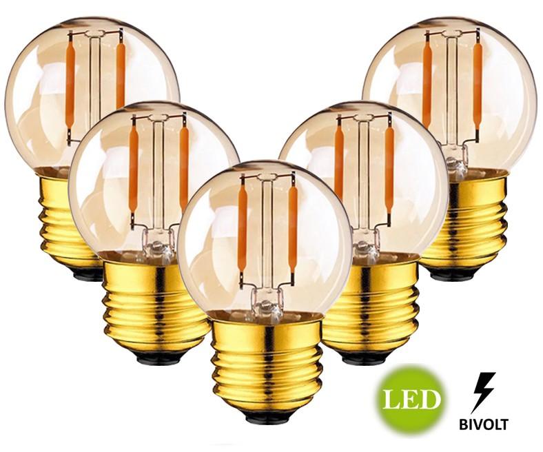 5 Lâmpadas G45 Retrô Decorativa Vintage LED 2W Bivolt