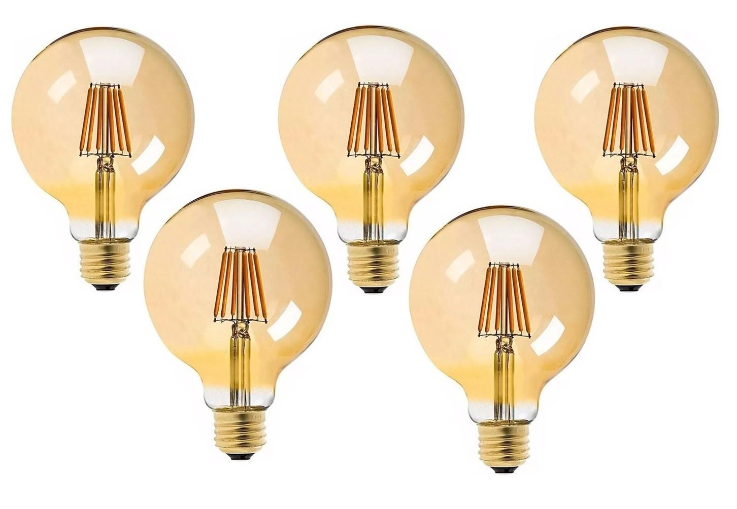 5 Lâmpadas G95 Retrô Decorativa Vintage Led 4w Bivolt