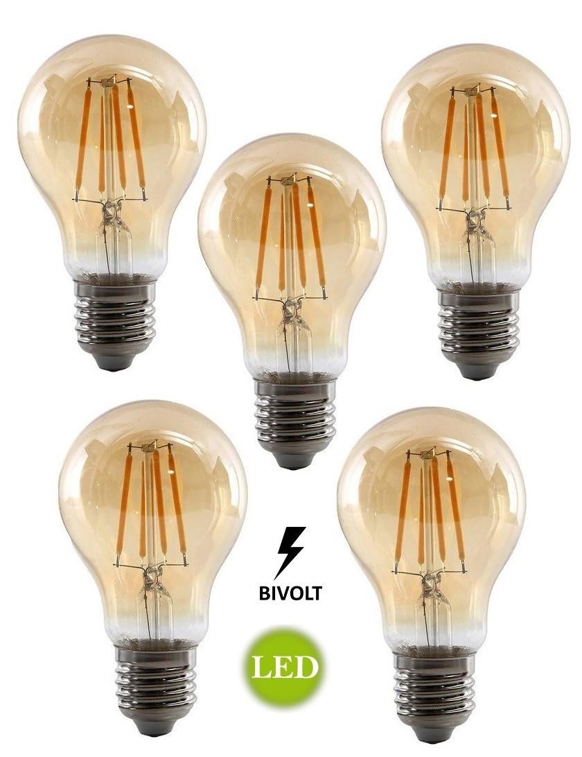 5 Lâmpadas Led A19 Retrô Decorativa Vintage 4w Bivolt