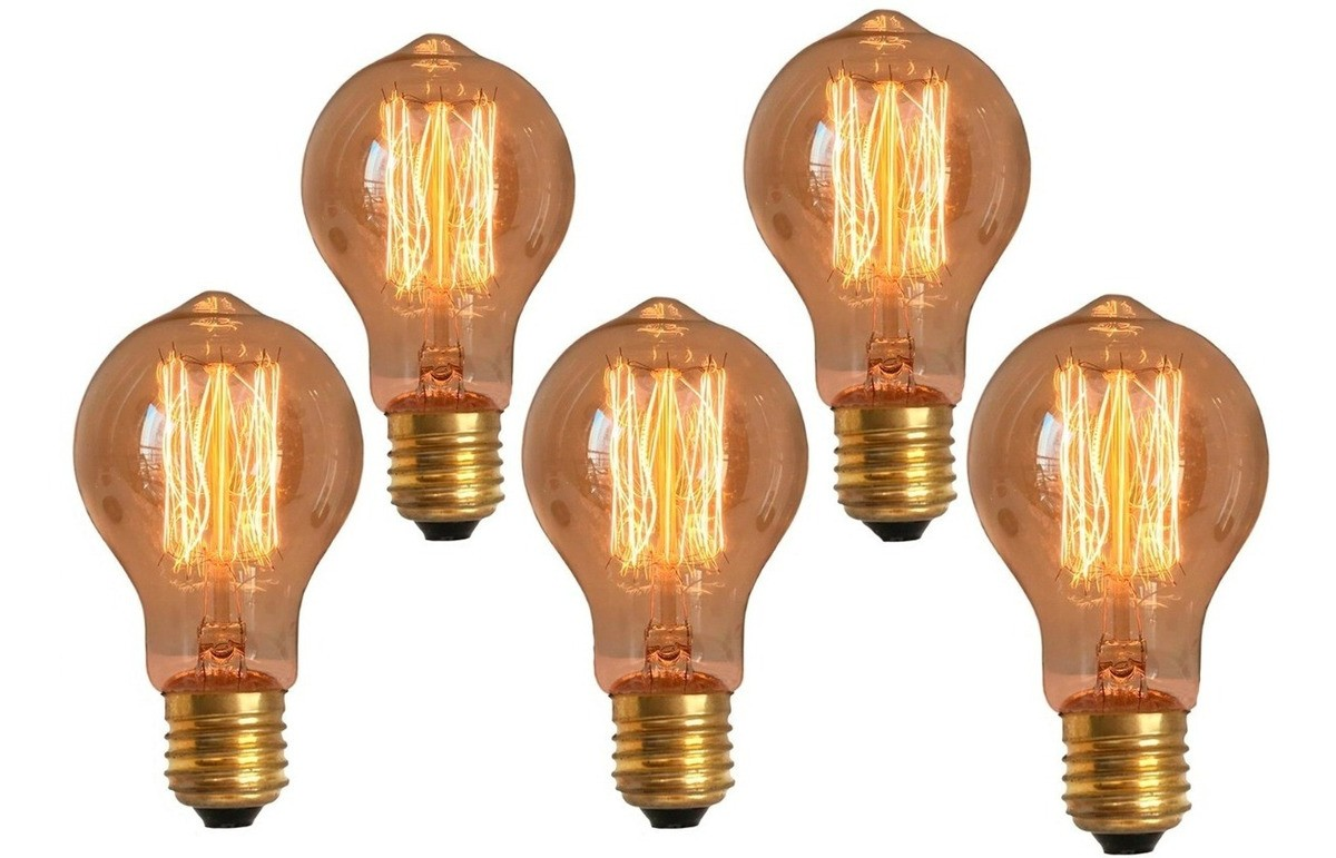 5 Lâmpadas Retrô Decorativa Vintage Thomas Edison A19