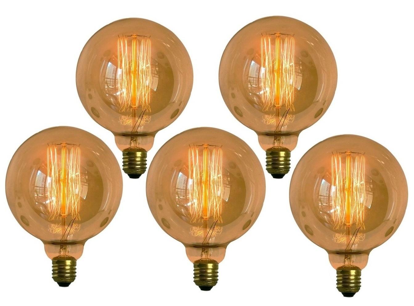 5 Lâmpadas Retro Decorativa Vintage Thomas Edison G125