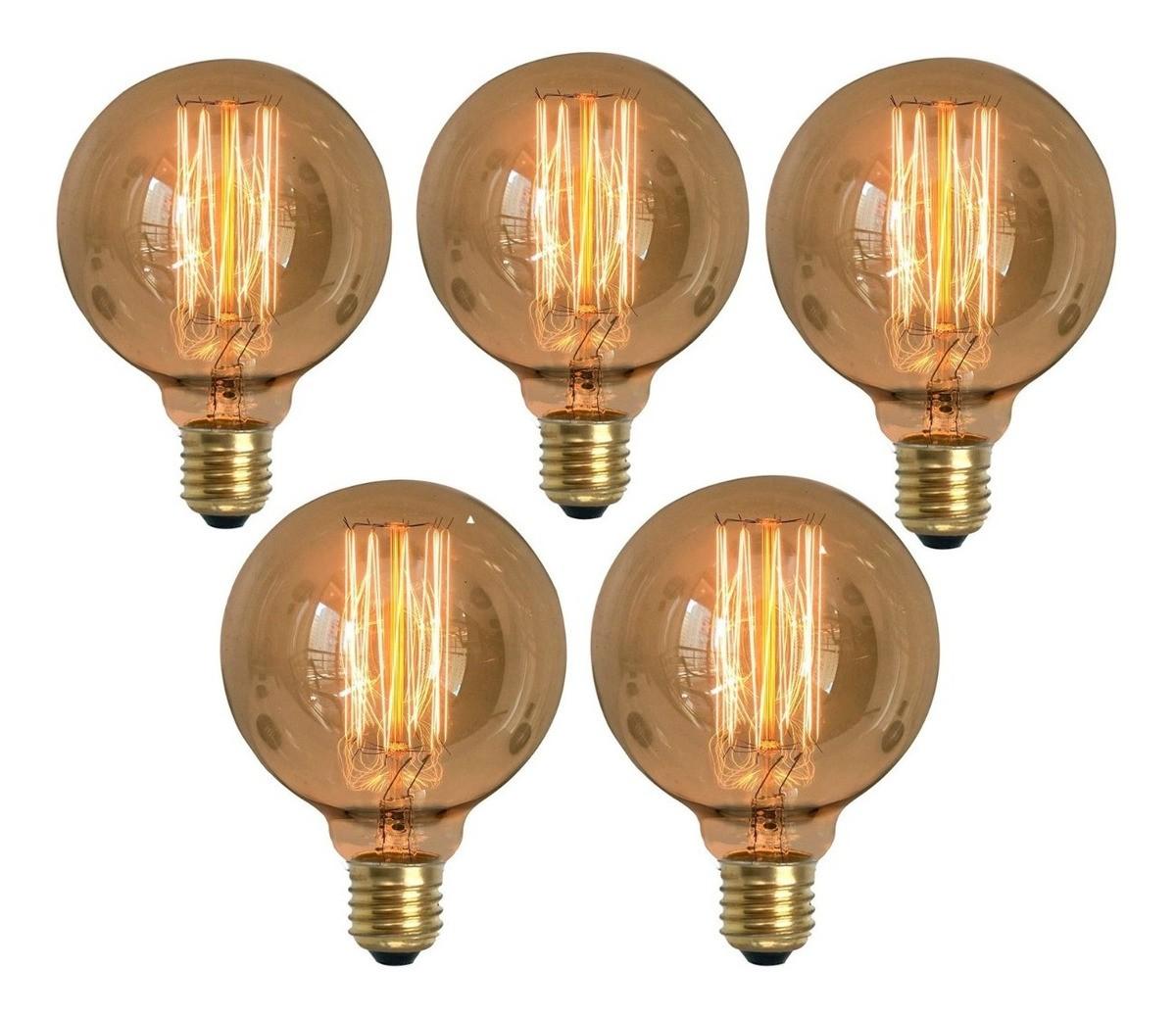 5 Lâmpadas Retrô Decorativa Vintage Thomas Edison G95