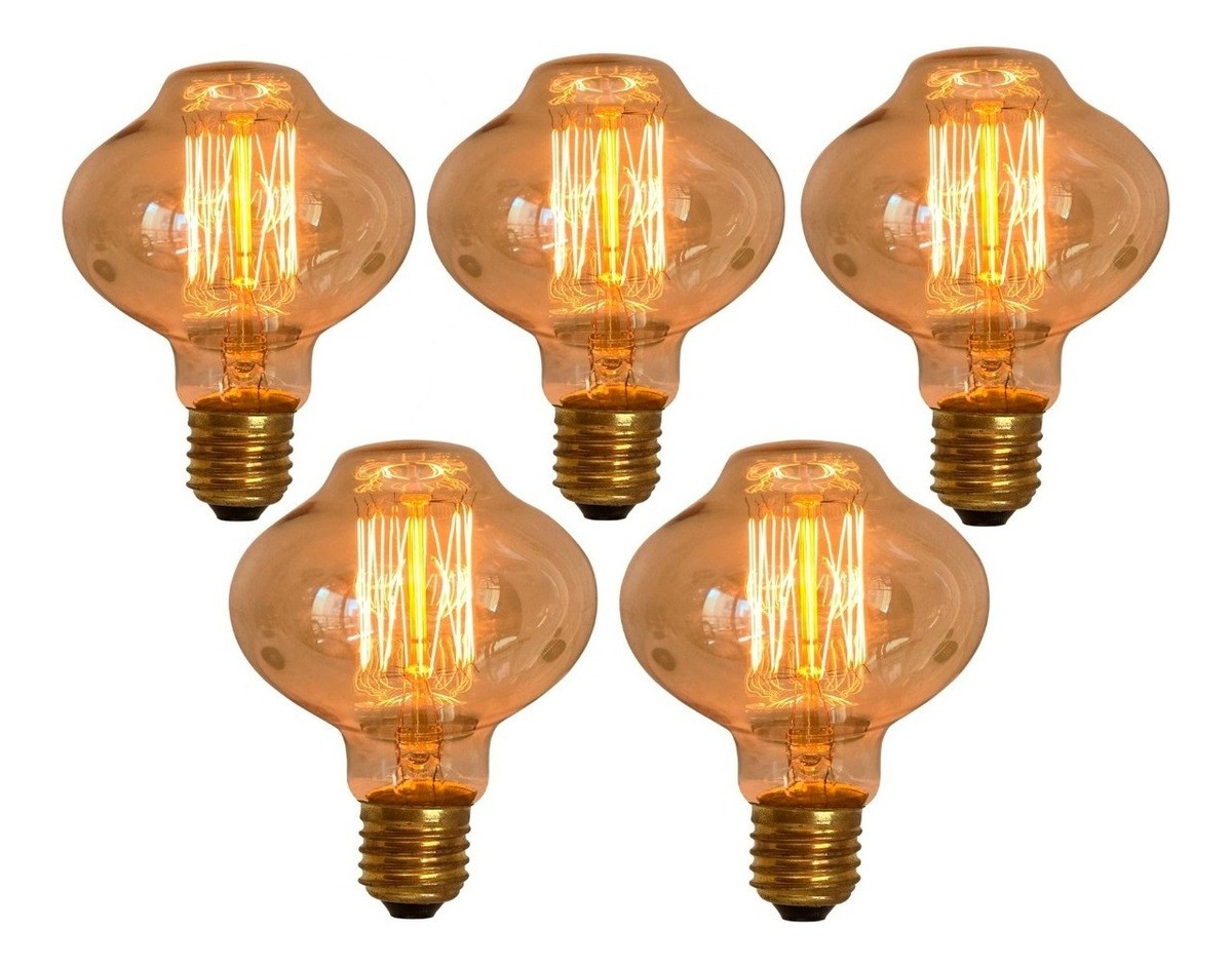 5 Lâmpadas Retrô Decorativa Vintage Thomas Edison L80