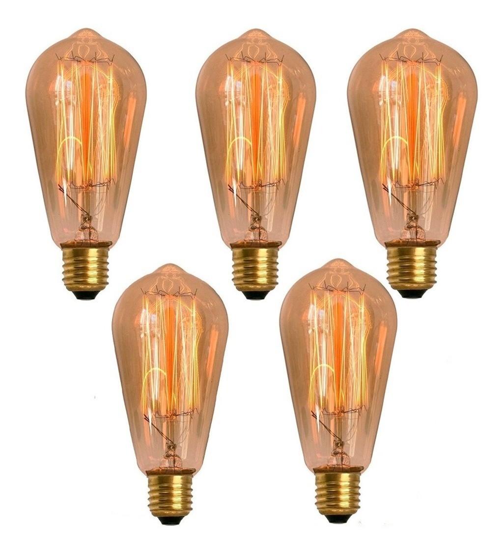 5 Lâmpadas Retrô Decorativa Vintage Thomas Edison St58