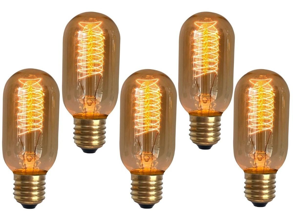 5 Lâmpadas Retro Vintage Thomas Edison T45