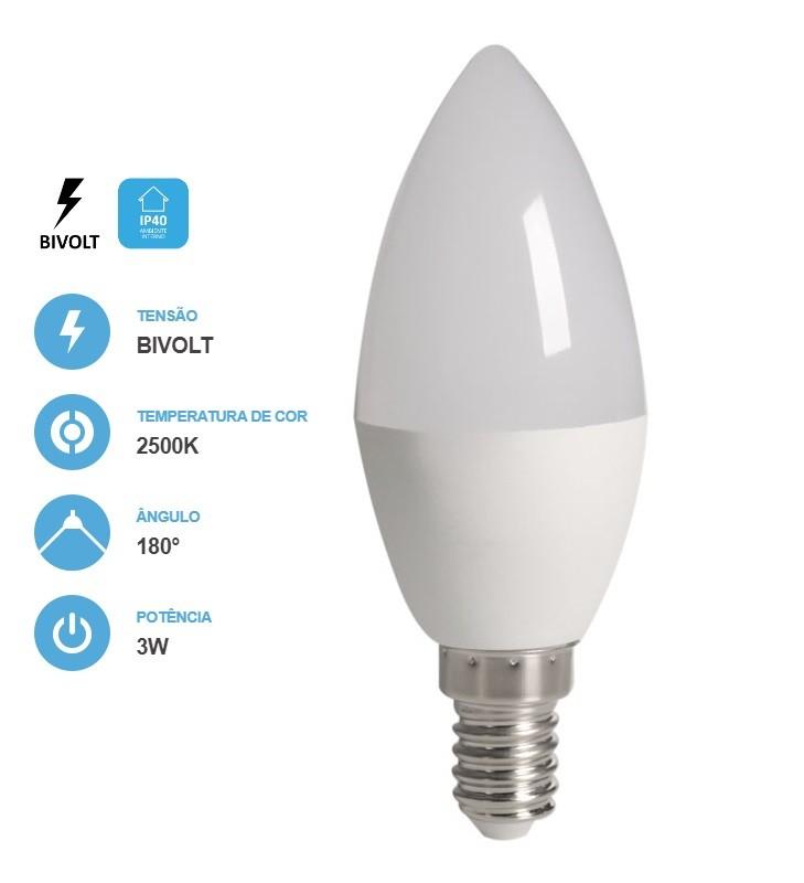 8x Lâmpada Vela Fosca 3W 250LM 2500K E14 Bivolt Save Energy
