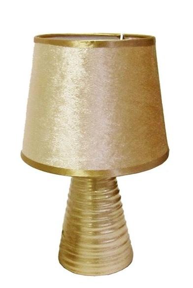 Abajur com Cupula e Base de Porcelana Dourado Bivolt
