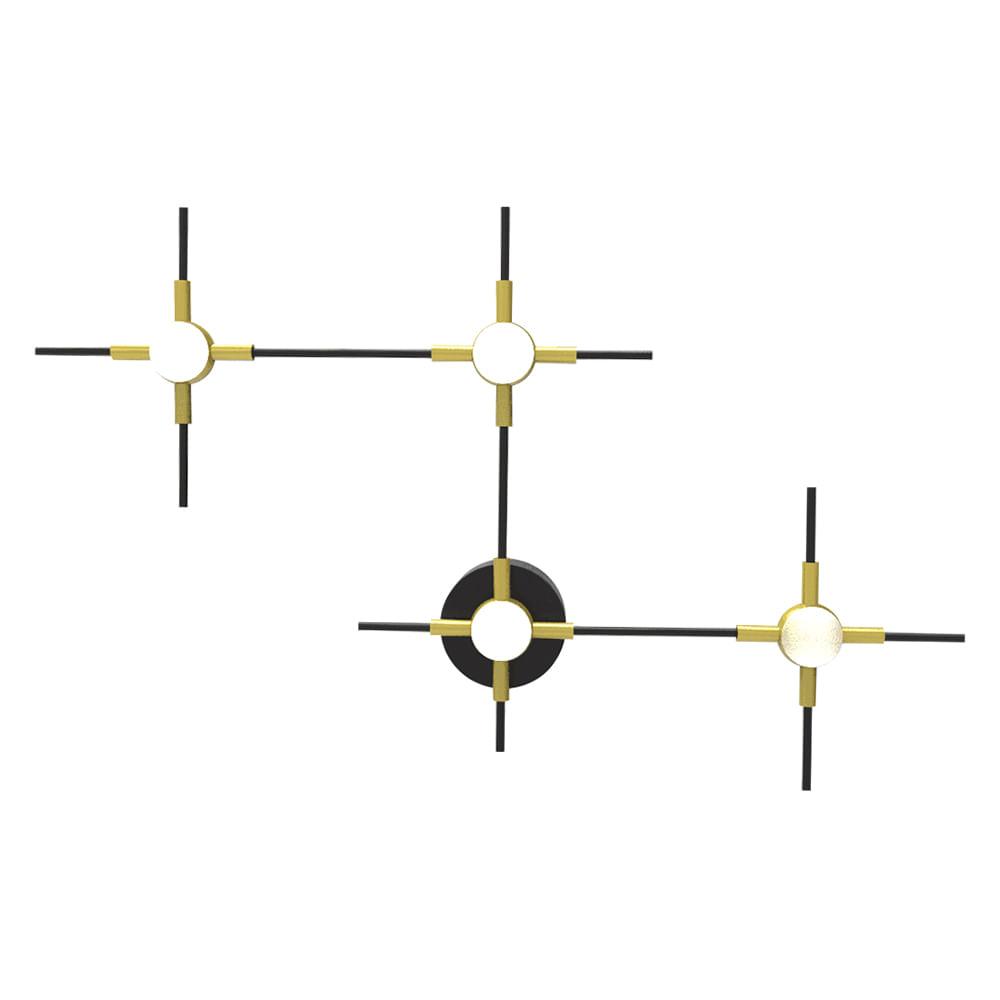 Arandela Link de Aço Aluminio e Acrilico Dourado Preto e Branco