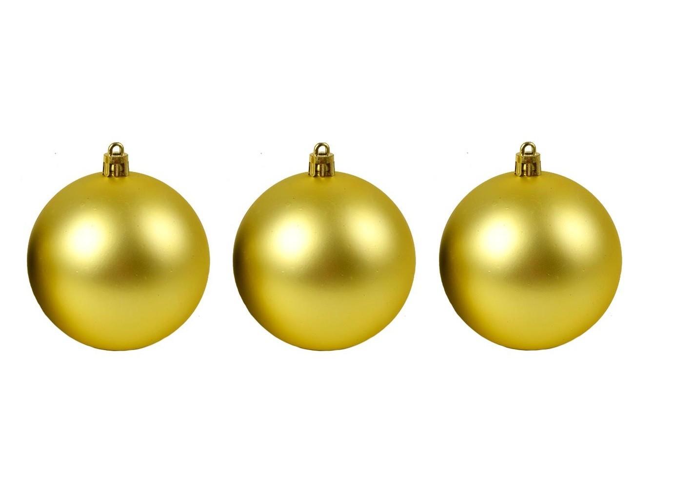 Bola de Natal Dourada Fosca N.6 C/3 pçs