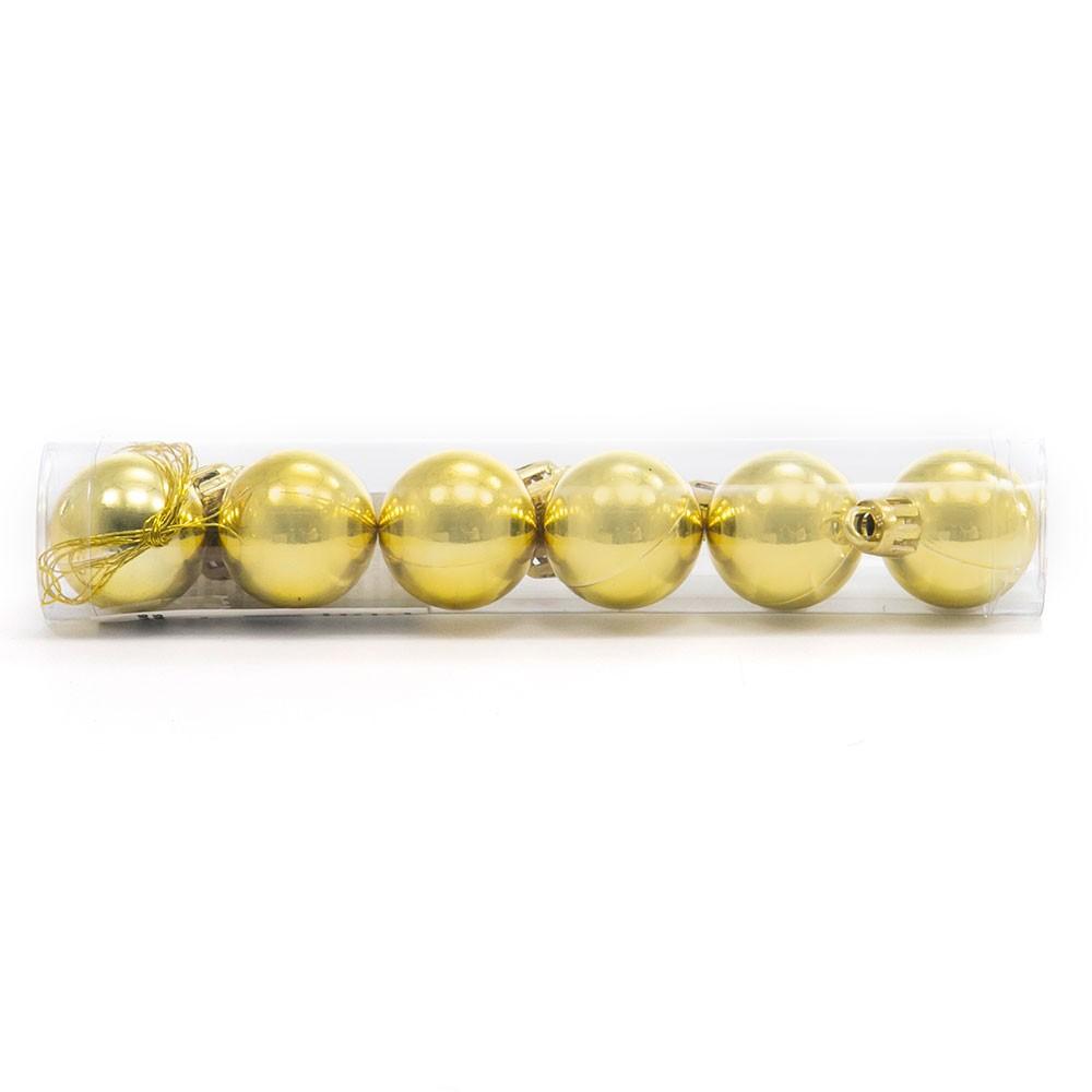Bola de Natal Dourada N.4 C/6 pçs