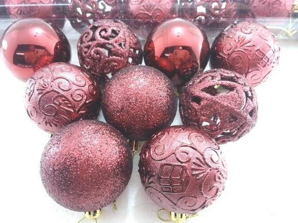 Bola Natal Textura Arabesco Rena c/ 9 Pçs