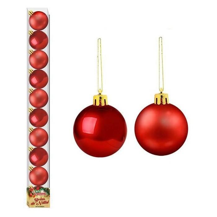 Bolas de Natal Vermelho 10 unidades