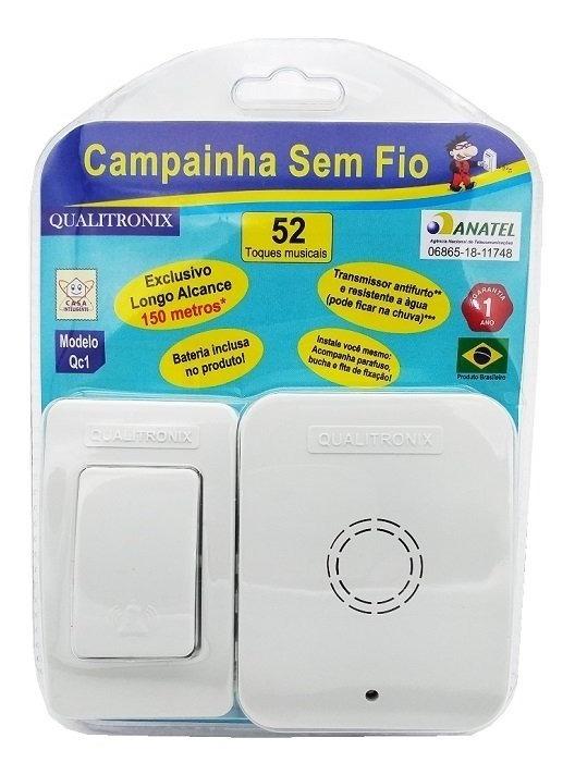 Campainha Sem Fio Qualitronix Qc1 Bivolt 52 Toques