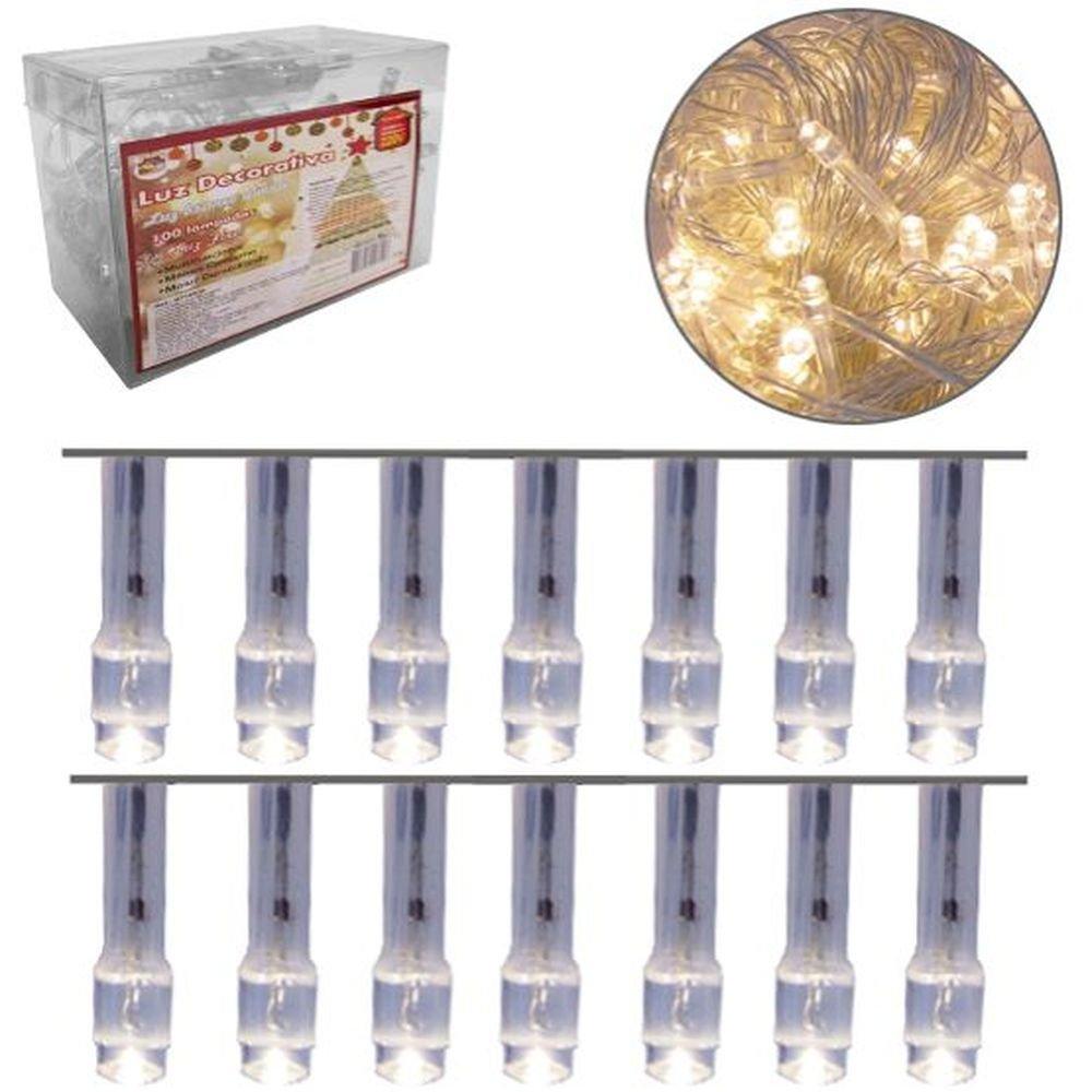 Cordão 100 LEDs Fixa Branco Quente 9m - 220V