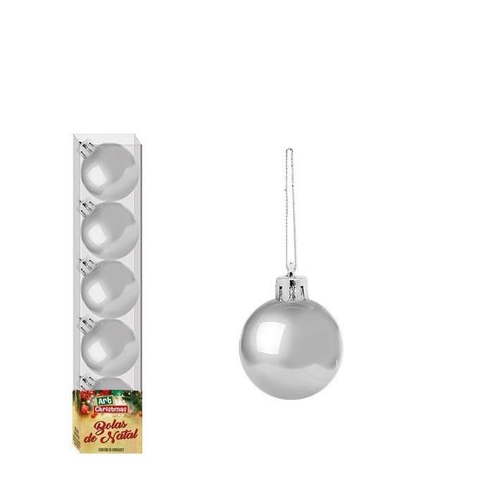 Enfeite Bola de Natal 4cm 5 Peças Prata