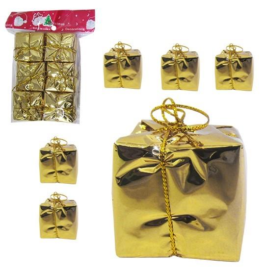 Enfeite Caixinha de Presente Dourado 3,5cm C 6pcs
