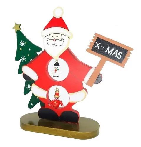 Enfeite de Natal Boneco Papai Noel de Madeira